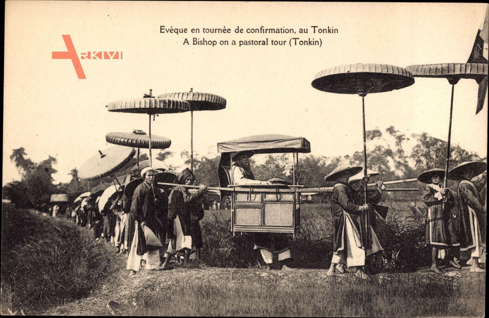 Tonkin Vietnam, Eveque en tournee de confirmation, Vietnamesen