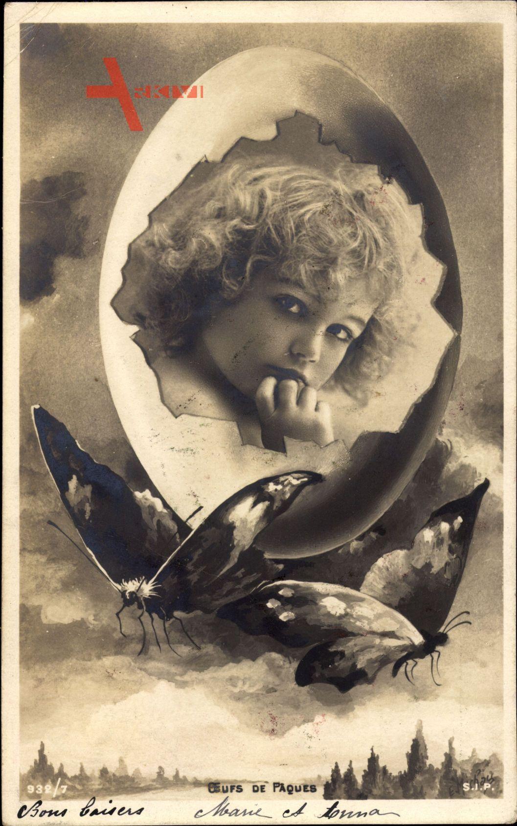 Passepartout Glückwunsch Ostern, Osterei, Kind, Schmetterlinge