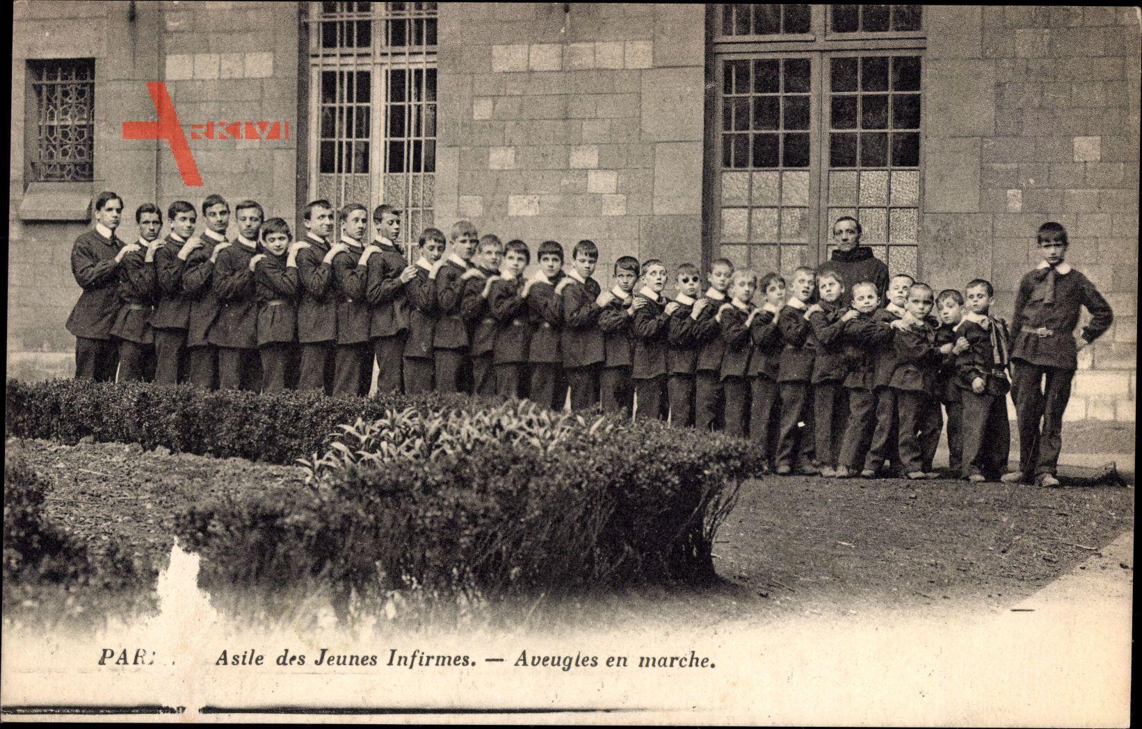 Paris, Asile des Jeunes Infirmes, Aveugles en marche, Blinde Kinder