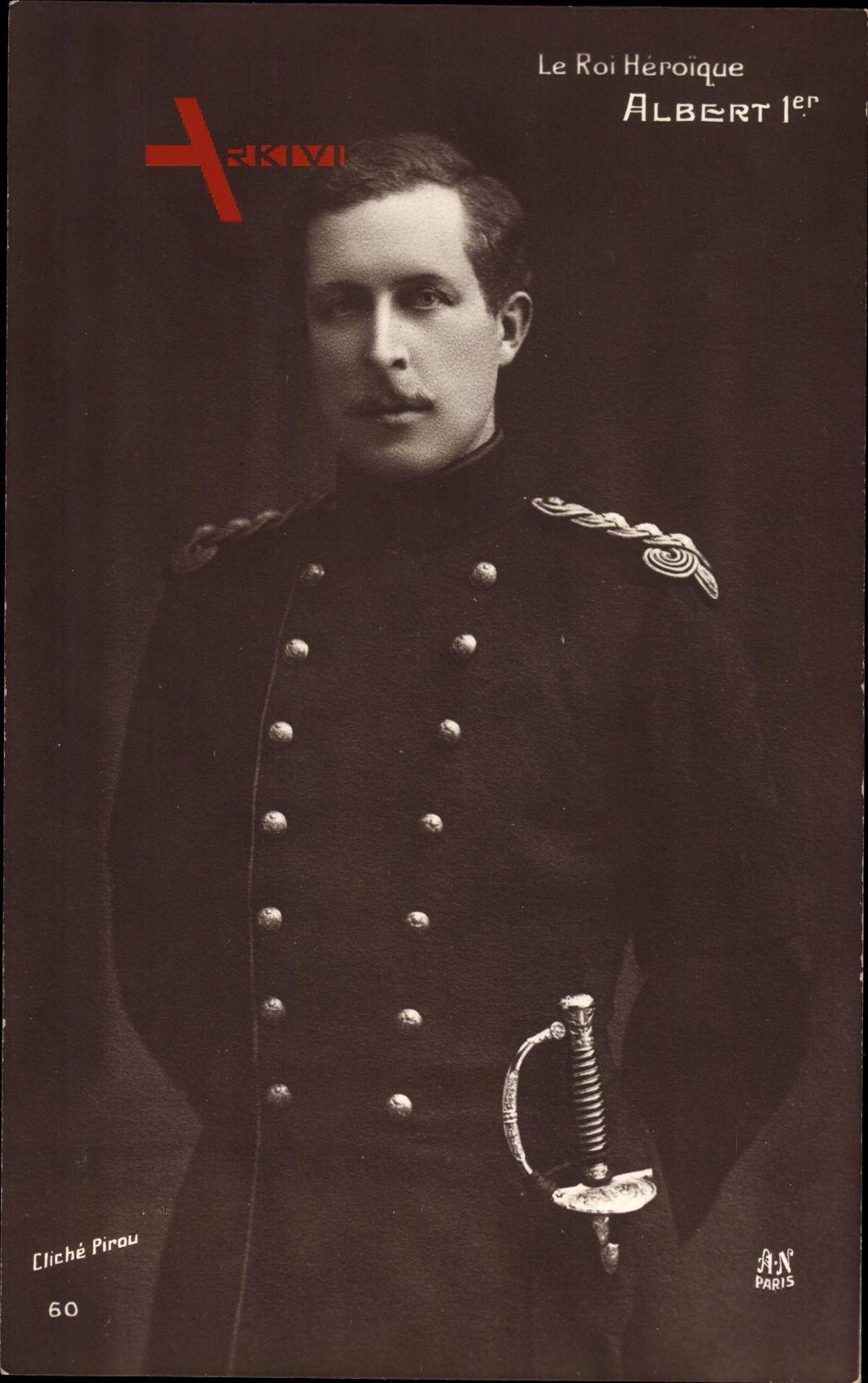 König Albert I. von Belgien, Roi Héroique, Portrait, Säbel, Uniform