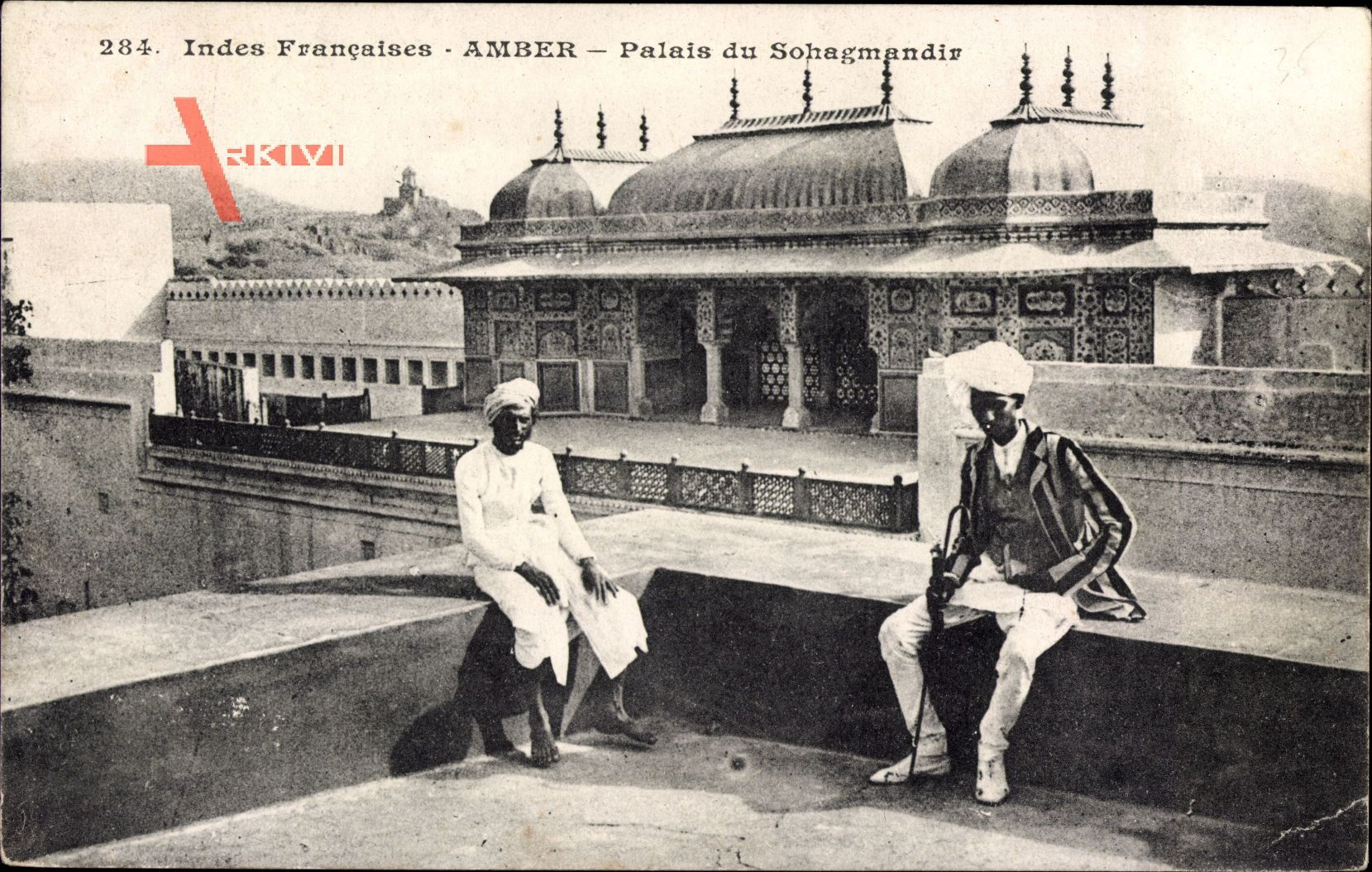 Amber Indien, Palais du Sohagmandir, Inder mit Gehstock, Palast