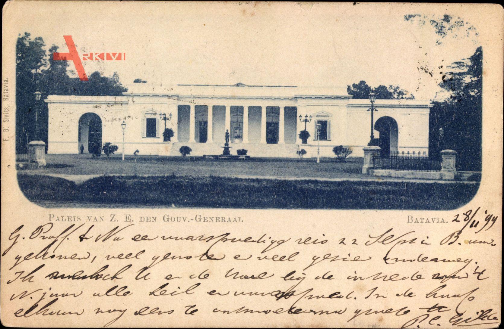 Batavia Jakarta Indonesien, Paleis van Z. E. den Gouv. Generaal