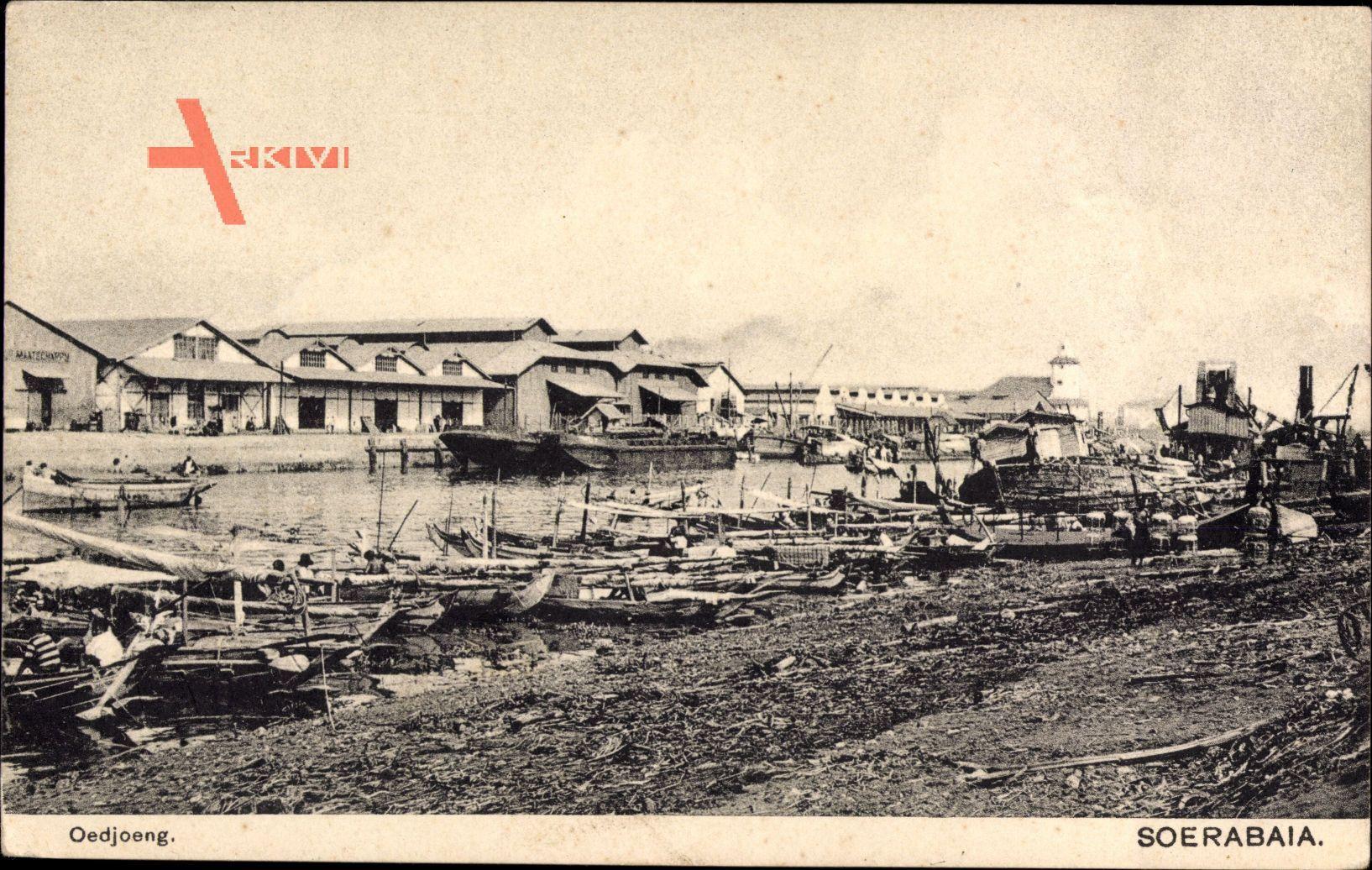Surabaya Indonesien, Oedjoeng, Blick in den Hafen, Fischerboote