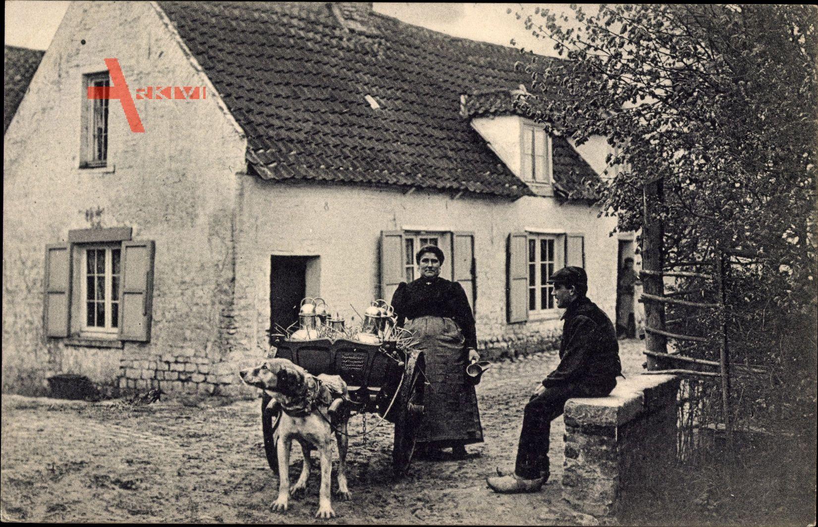 Laitiere flamande, Milchfrau mit Hundekarren, Wohnhaus