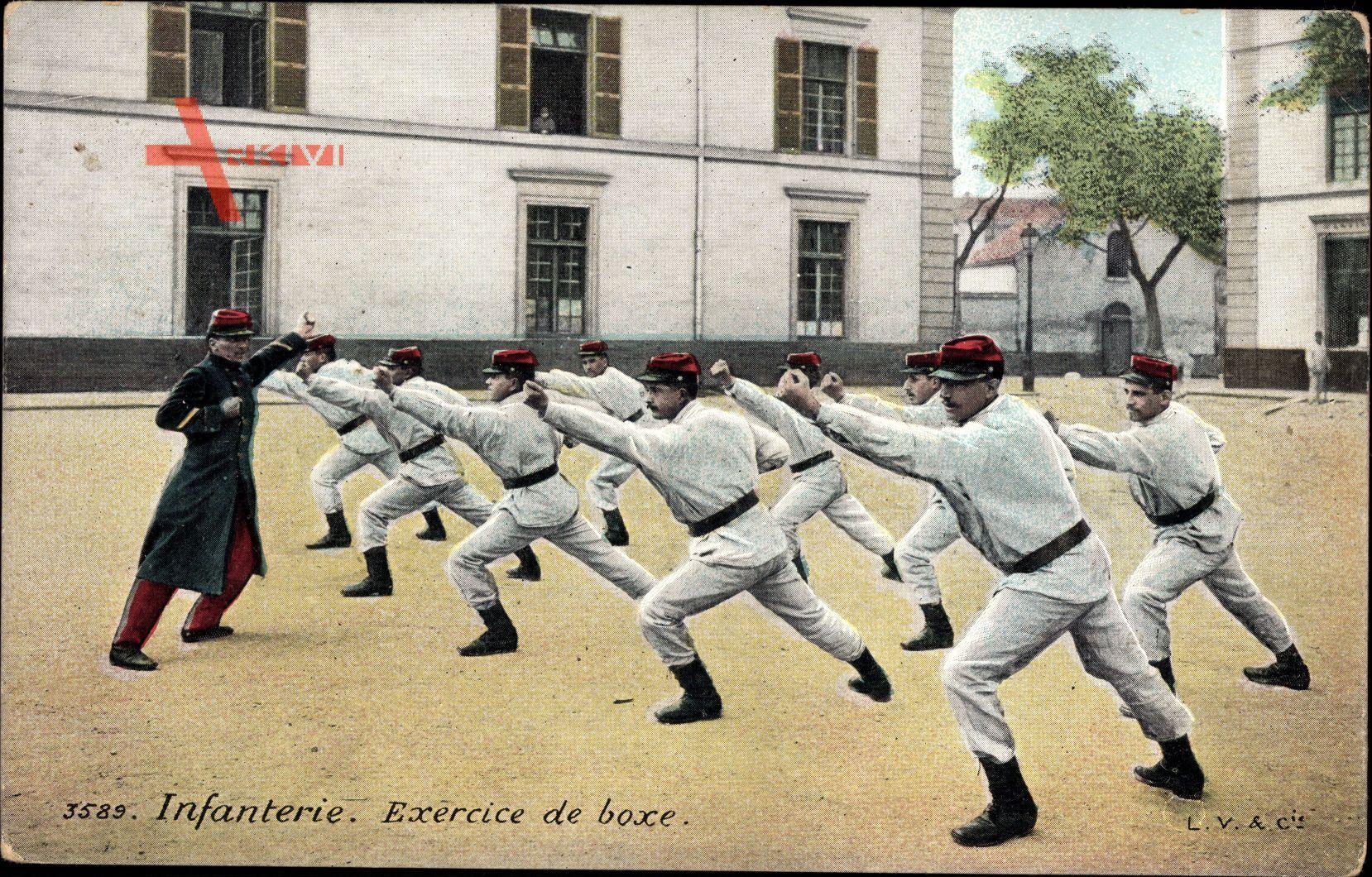 Infanterie, Exercice de boxe, Soldaten beim Boxtraining, Platz