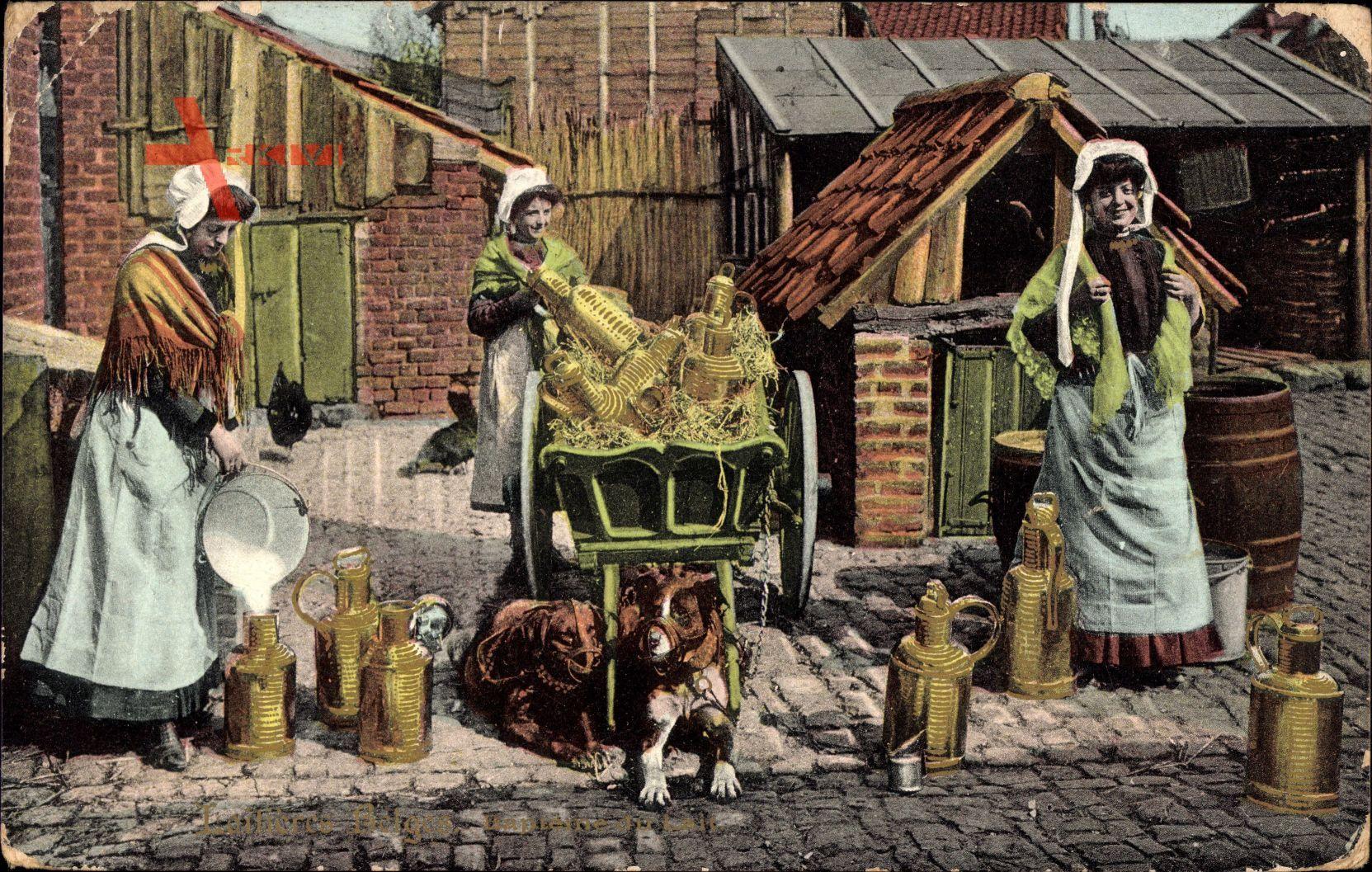 Laitieres Belges, Bapteme du Lait, Hundekarren, Milchfrauen in Tracht