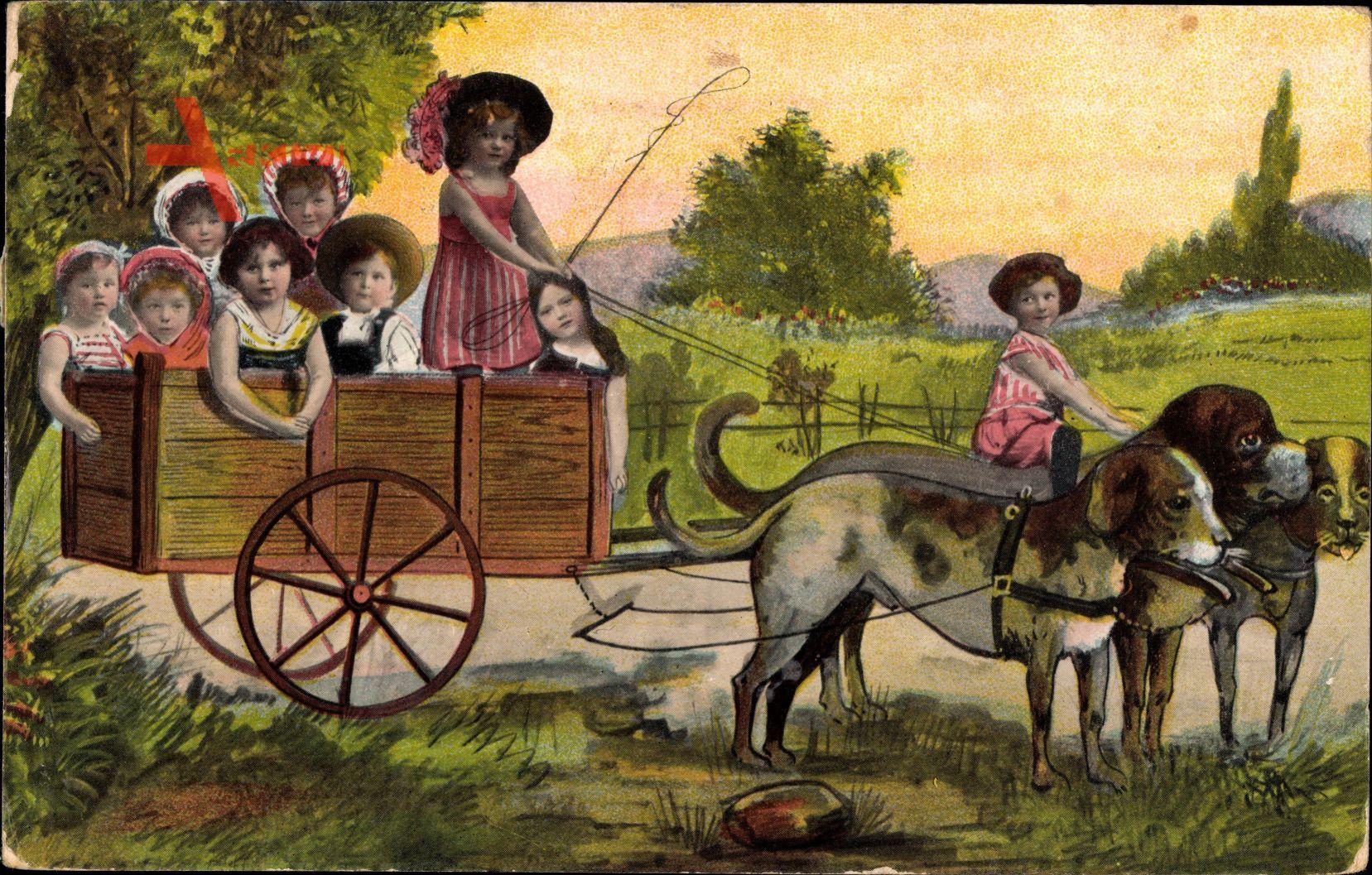 Kinder in einer Hundekutsche, Fotomontage, Mädchen mit Hut und Peitsche