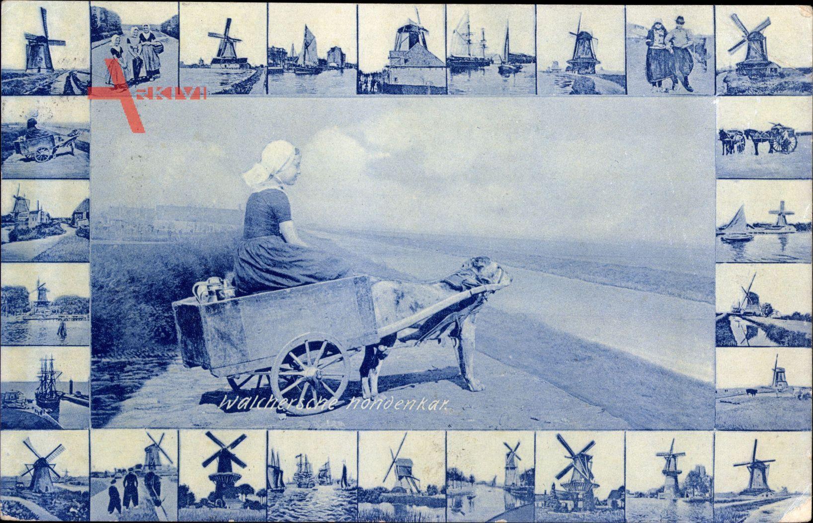 Walchersche Nondenkar, Frau in Tracht in Hundekarren, Windmühlen