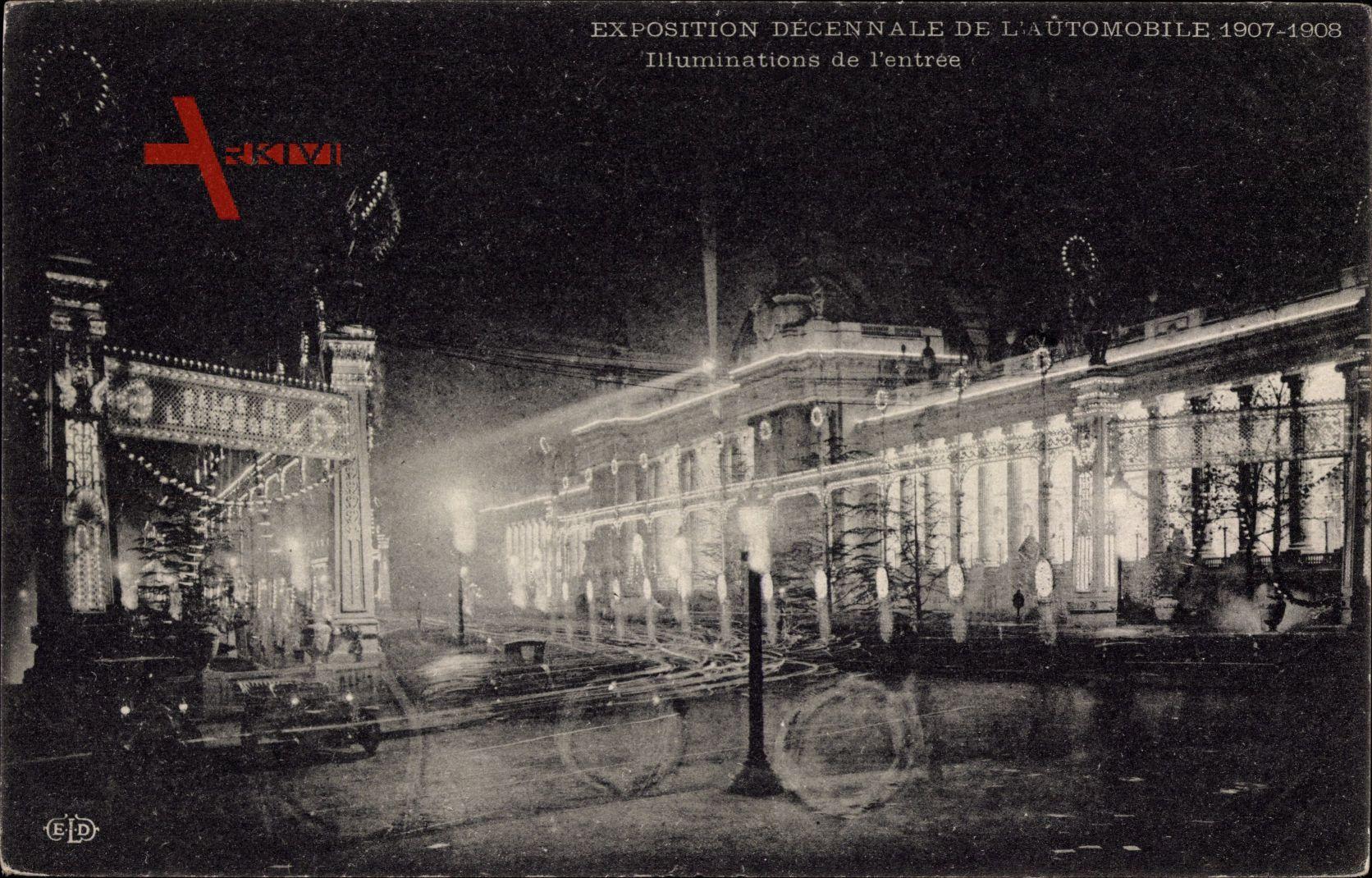 Exposition decennale de lAutomobile 1907 à 1908, Illuminations de lentrée