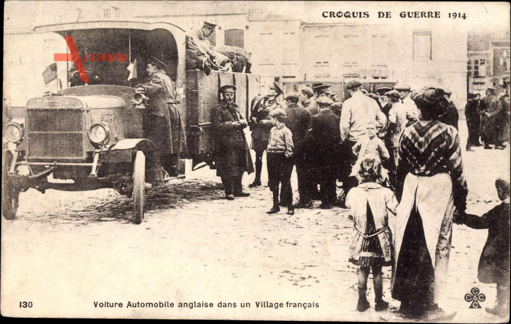 Voiture Automobile anglaise dans un Village francais, Militärischer LKW