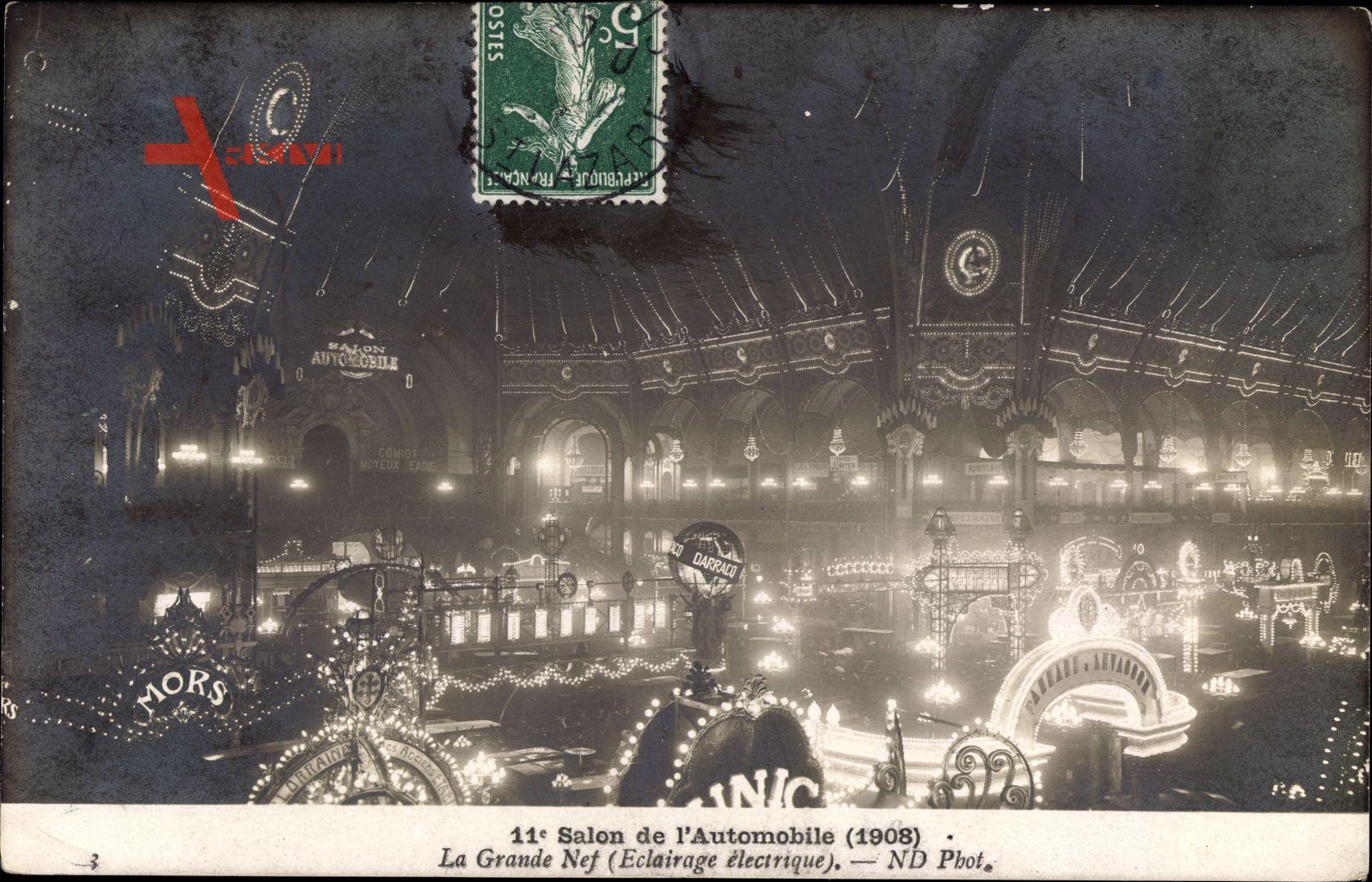 Salon de lAutomobile, 1908, Grande Nef, Eclairage électrique,Autoausstellung