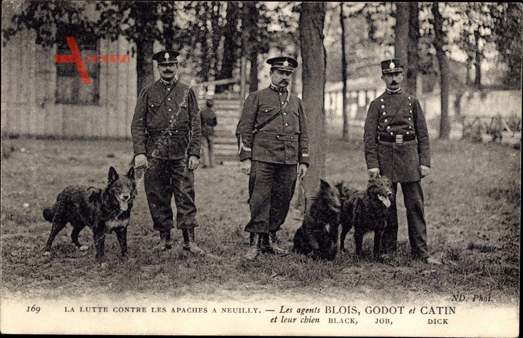La Lutte contre les Apaches à Neuilly, Agents Blois, Godot, Catin