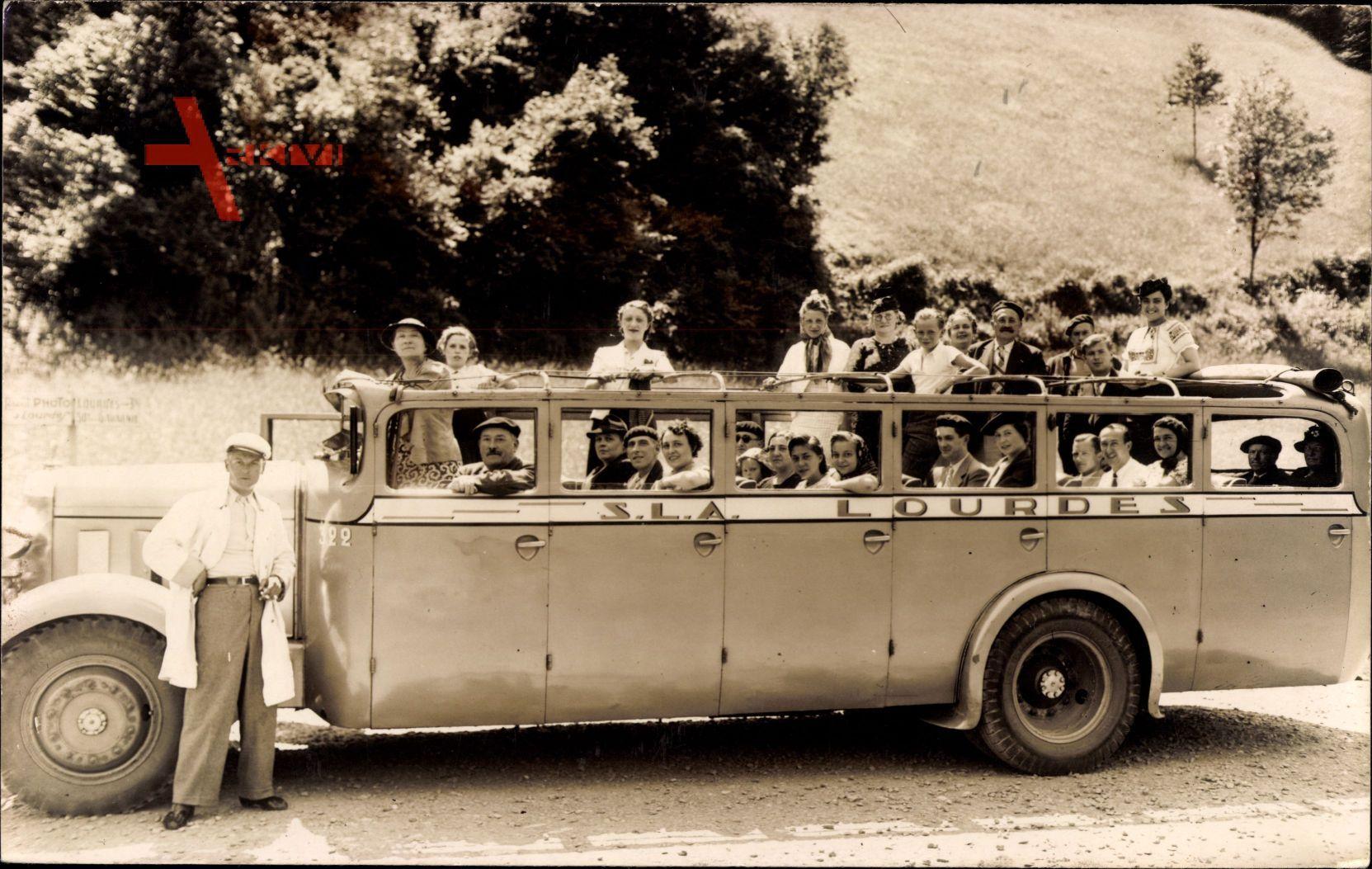 Lourdes, Reisebus, Offenes Verdeck, Passagiere, Pilgerfahrt