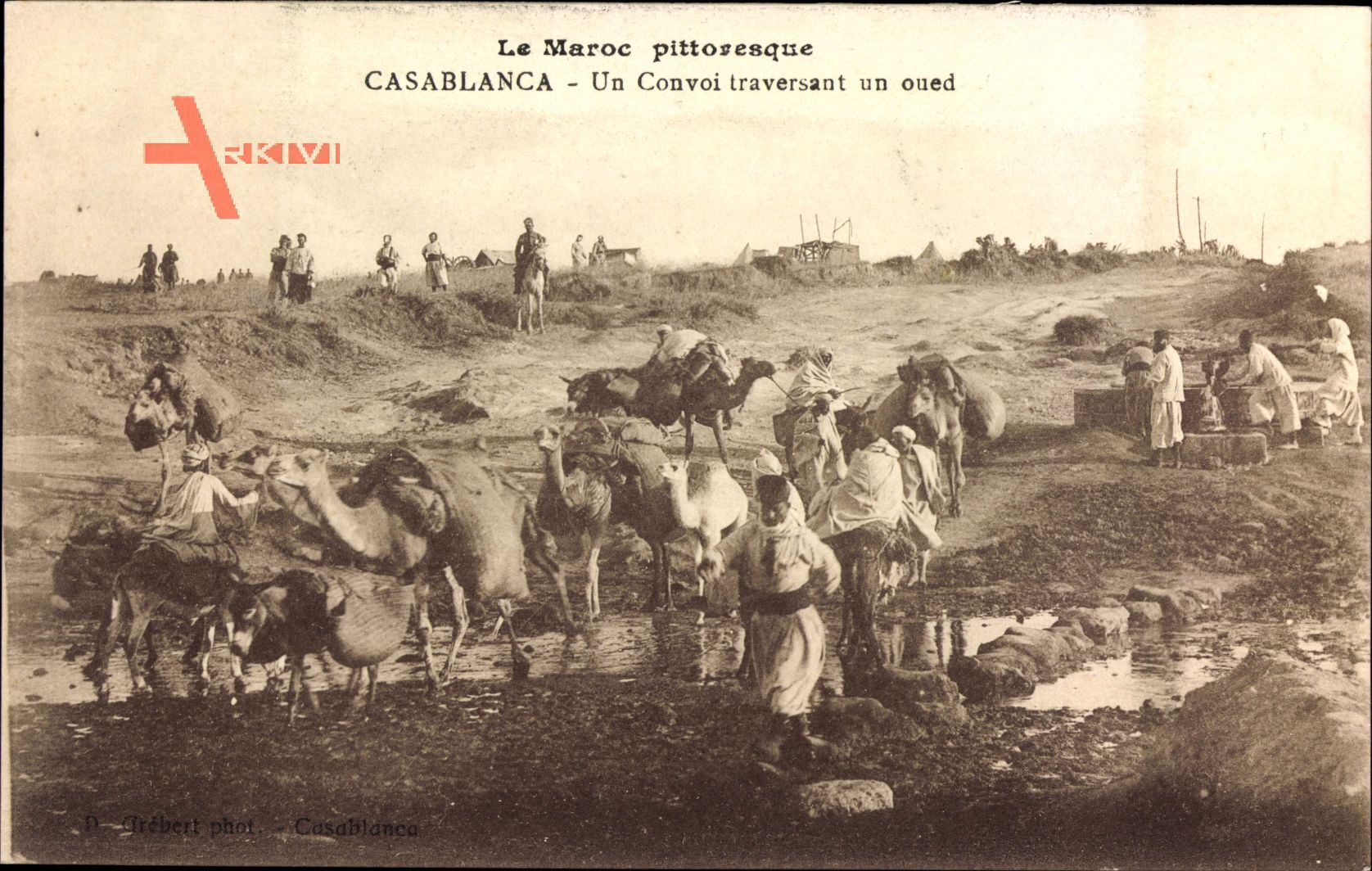 Casablanca Marokko, Un Convoi traversant un oued, Konvoi, Kamele