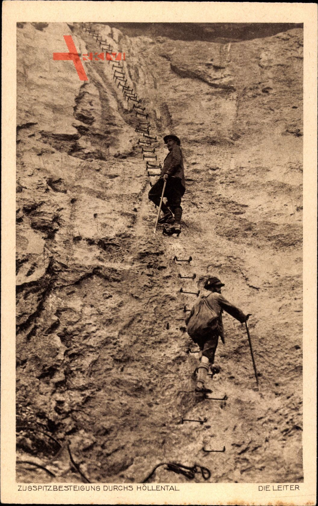 Zugspitzbesteigung durch das Höllental, Bergsteiger, Steile Felswand