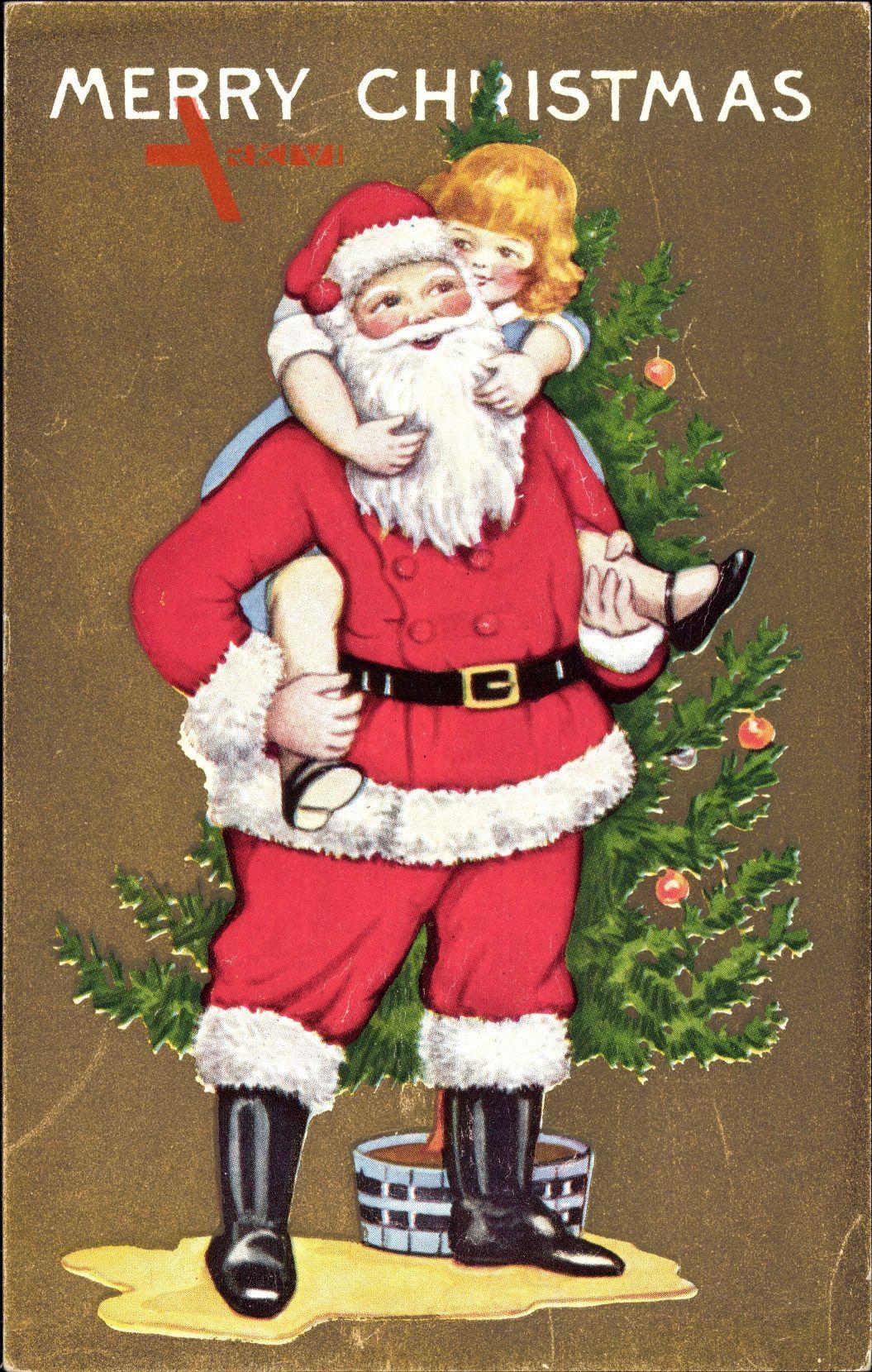 Frohe Weihnachten, Weihnachtsmann, Tannenbaum