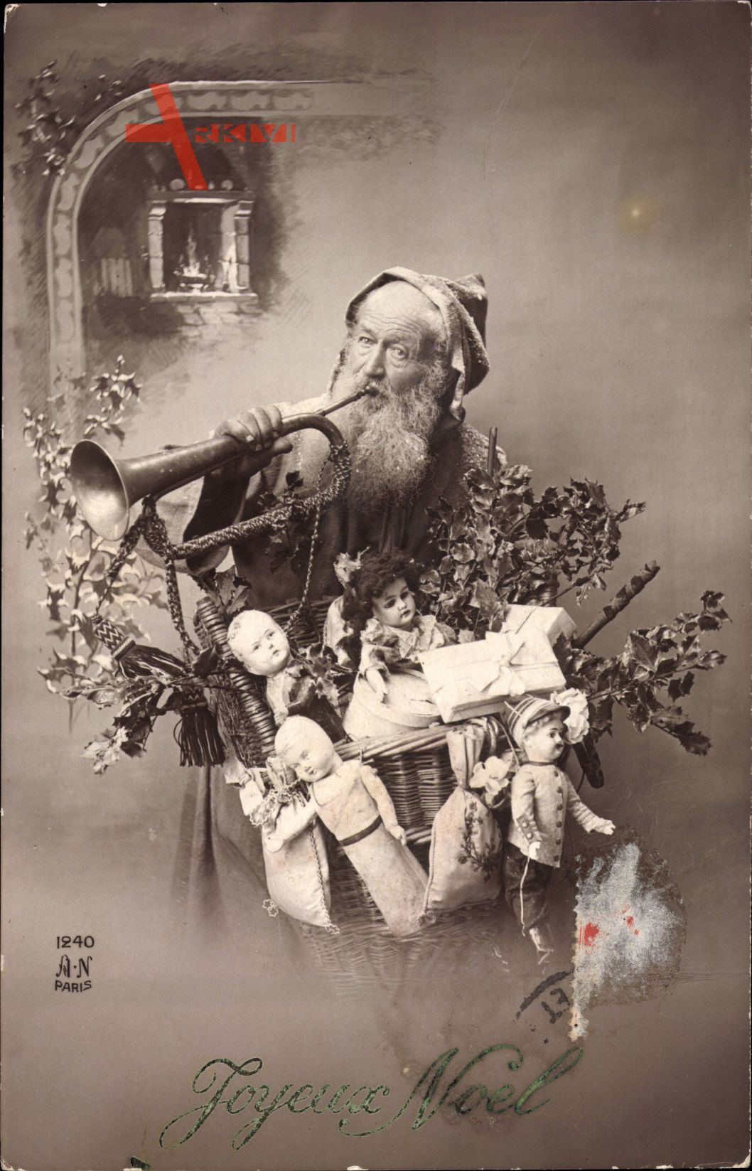 Frohe Weihnachten, Weihnachtsmann, Geschenke, Trompete