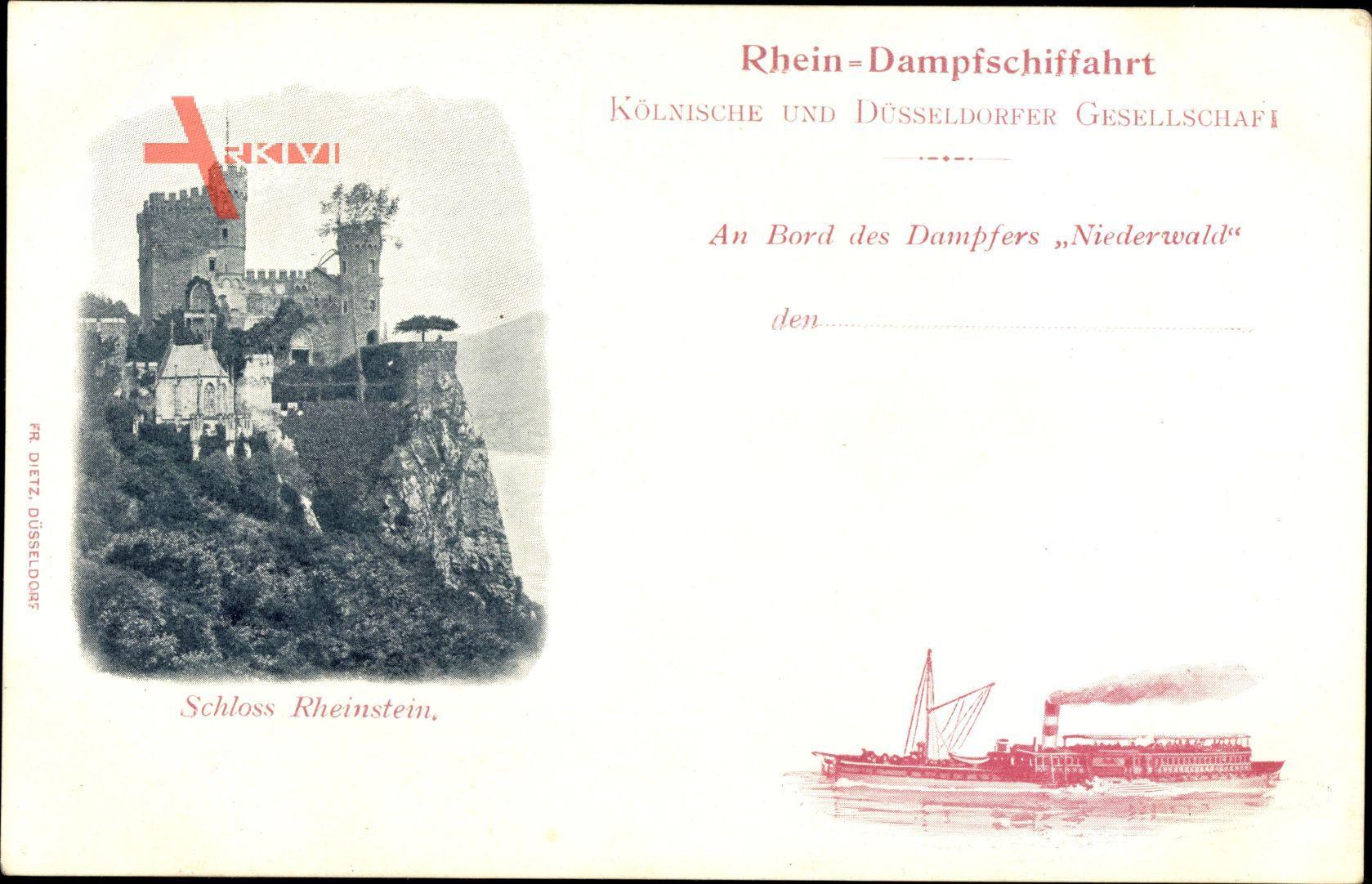 Rhein Dampfschifffahrt, Dampfer Niederwald, Schloss Rheinstein