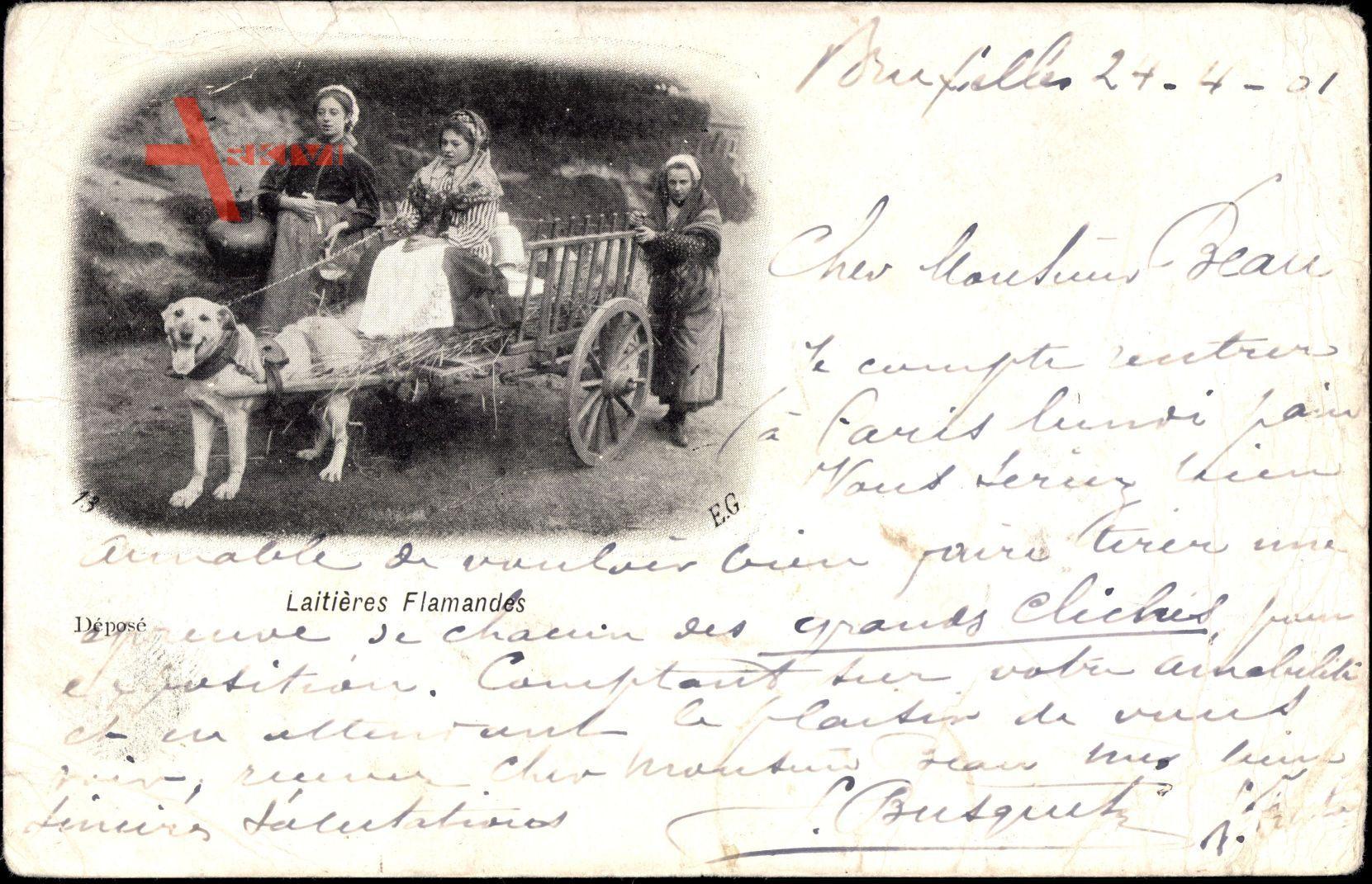 Belgien, Laitières Flamandes, Flämische Milchmädchen, Zughund