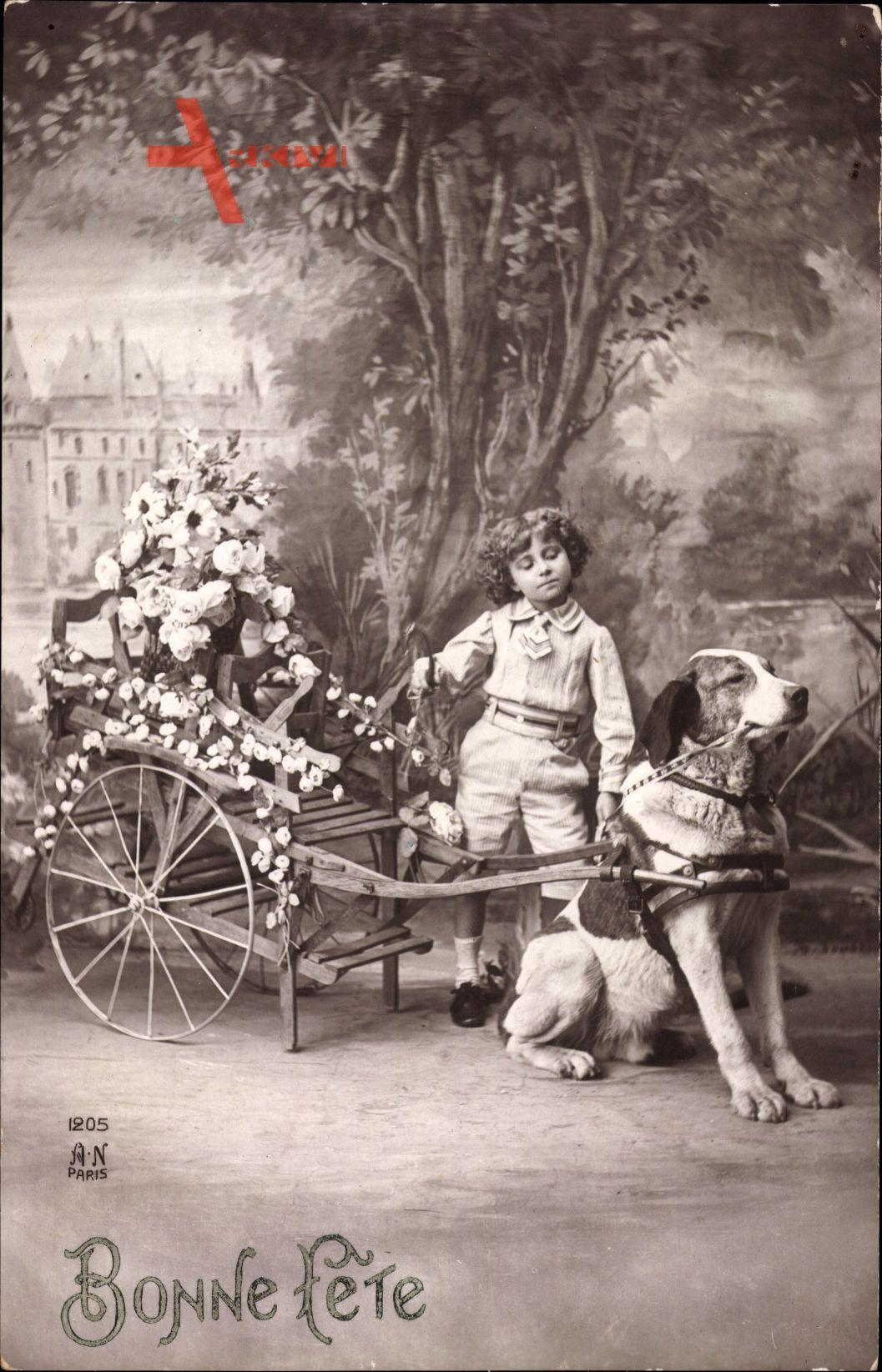 Glückwunsch, Zughund, Blumenwagen, Kind, Bonne Fête