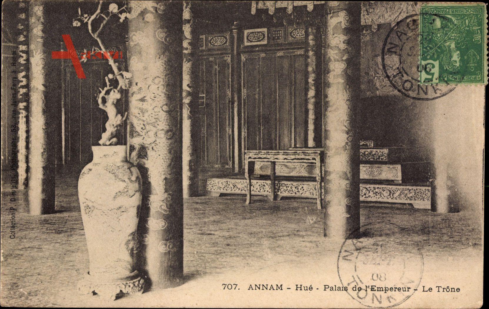 Annam Vietnam, Hue, Palais de l'Empereur, le Trone, Innenansicht vom Palast