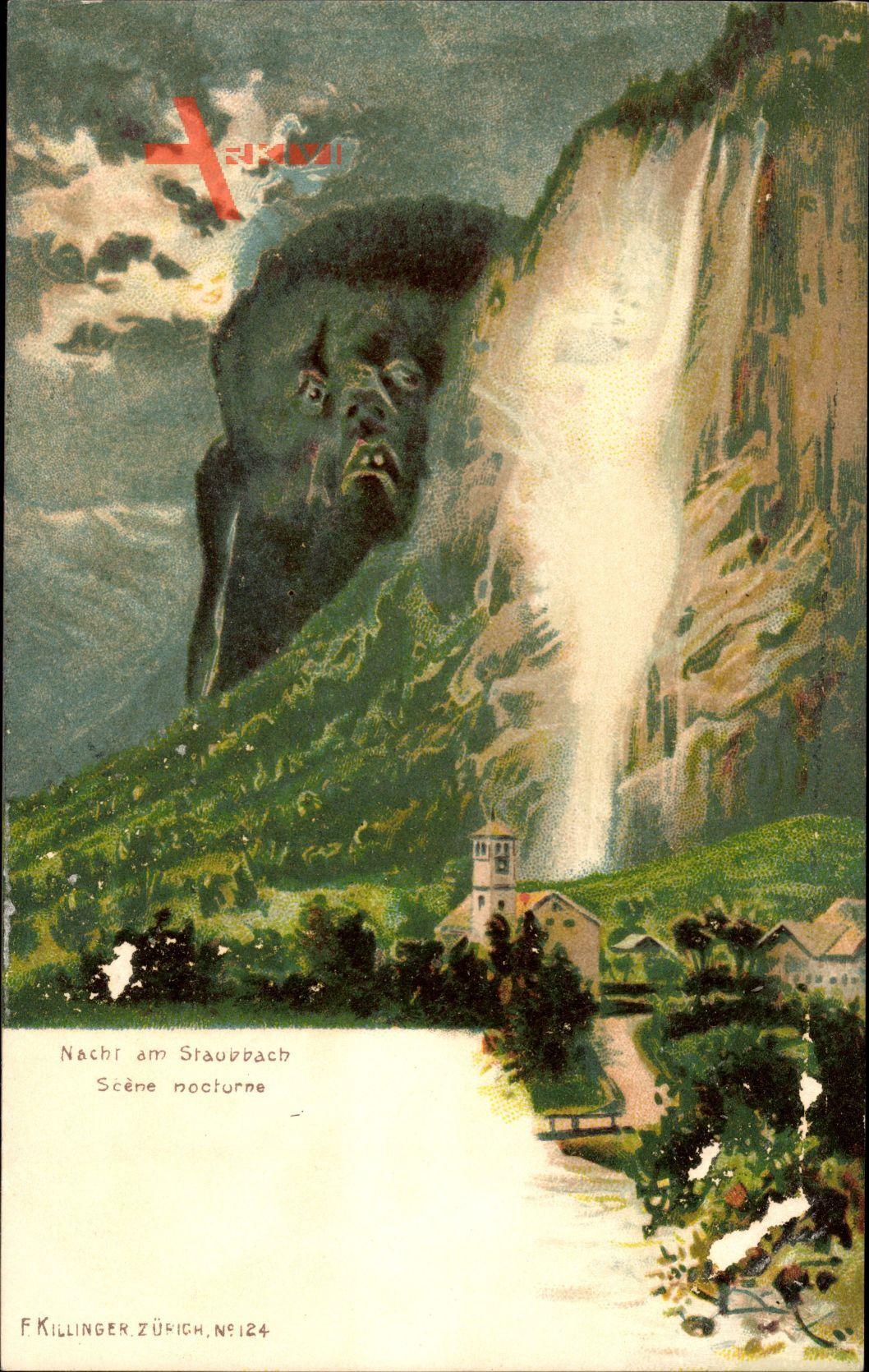 Nacht am Staubbach, Scène nocturne, Killinger No 124, Berggesichter