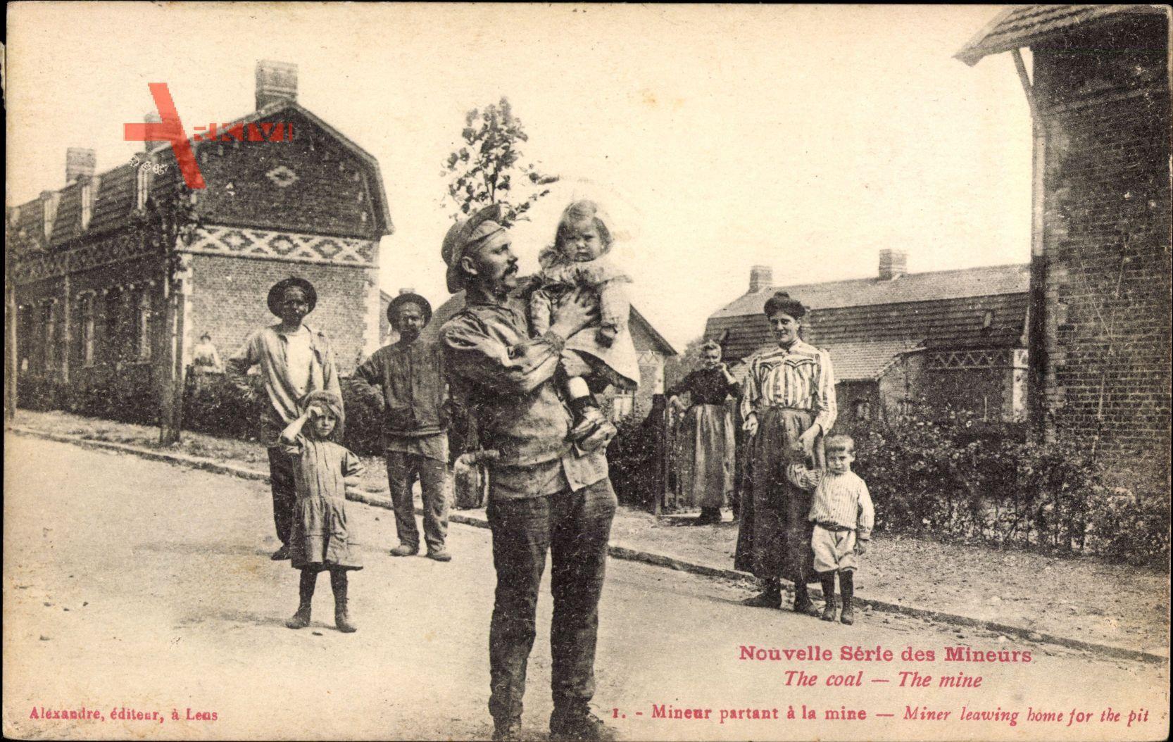Mineurs, The Coal, The Mine, Mineur partant à la mine, Bergmann, Familie