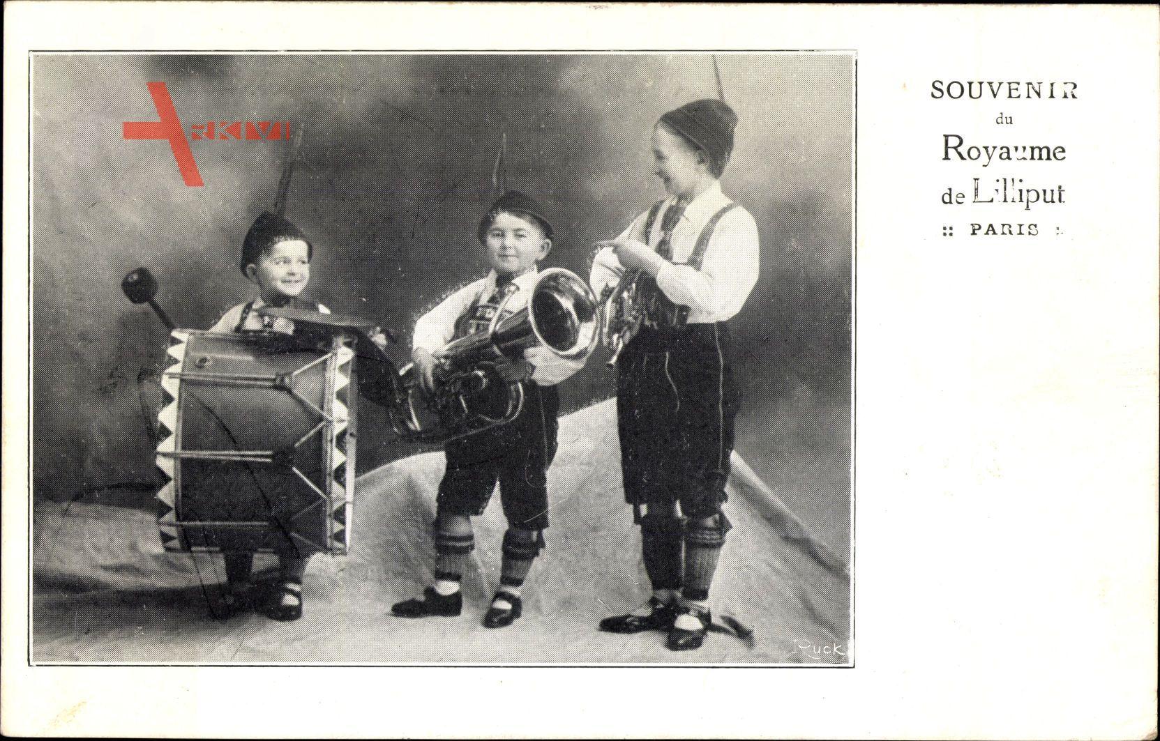 Souvenir du Royaume de Liliput, Paris, Liliputaner mit Musikinstrumenten