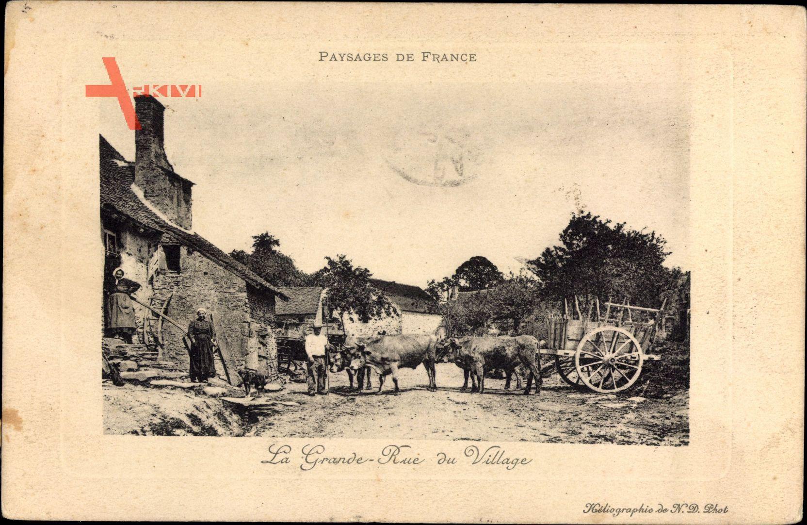 Paysages de France, La Grande Rue du Village, Bauernhof, Ochsenkarren