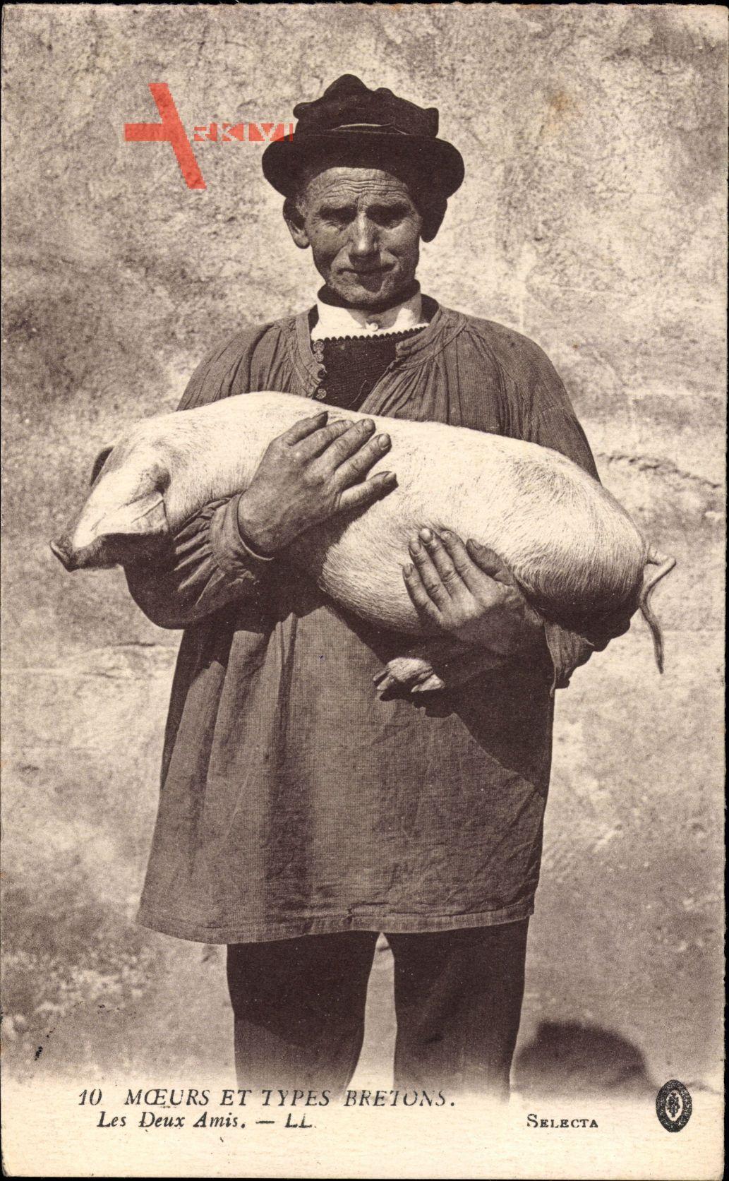 Moeurs et Types Bretons, Les Deux Amis, Zwei Freunde, Bauer, Schwein