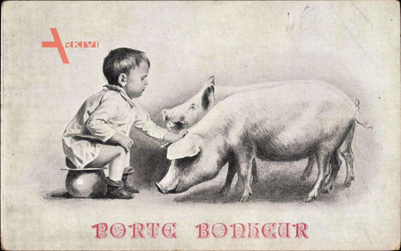 Glückwunsch, Porte Bonheur, Kind auf dem Nachttopf, Schweine
