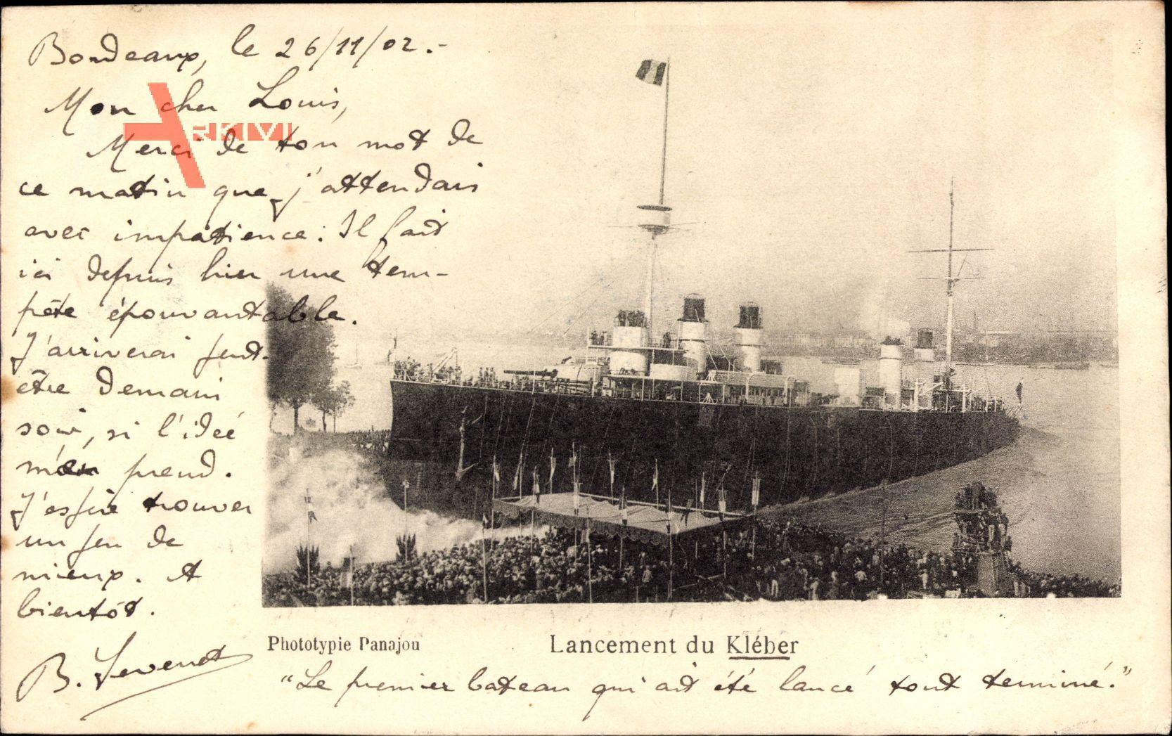 Französisches Kriegsschiff, Lancement du Kléber, Stapellauf