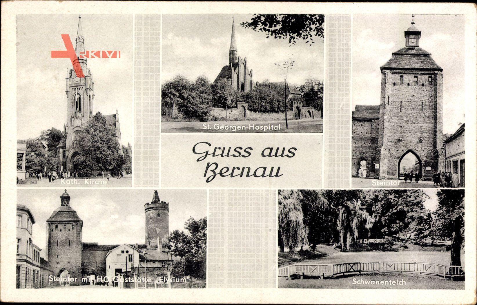 Bernau bei Berlin, St. Georgen Hospital, Steintor, Schwanenteich, Kirche