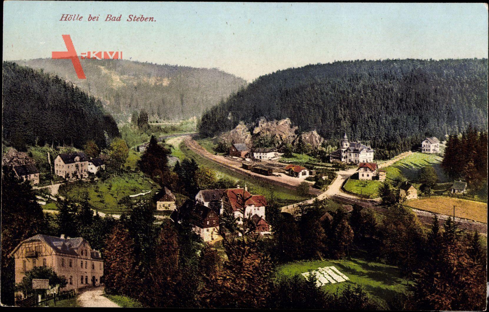 Hölle Bad Steben im Frankenwald Bayern, Blick auf den Ort, Wald