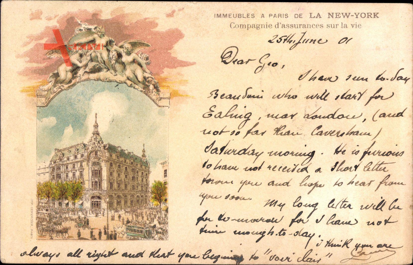 Paris, Immeubles de la New York, Cie dAssurances sur la vie