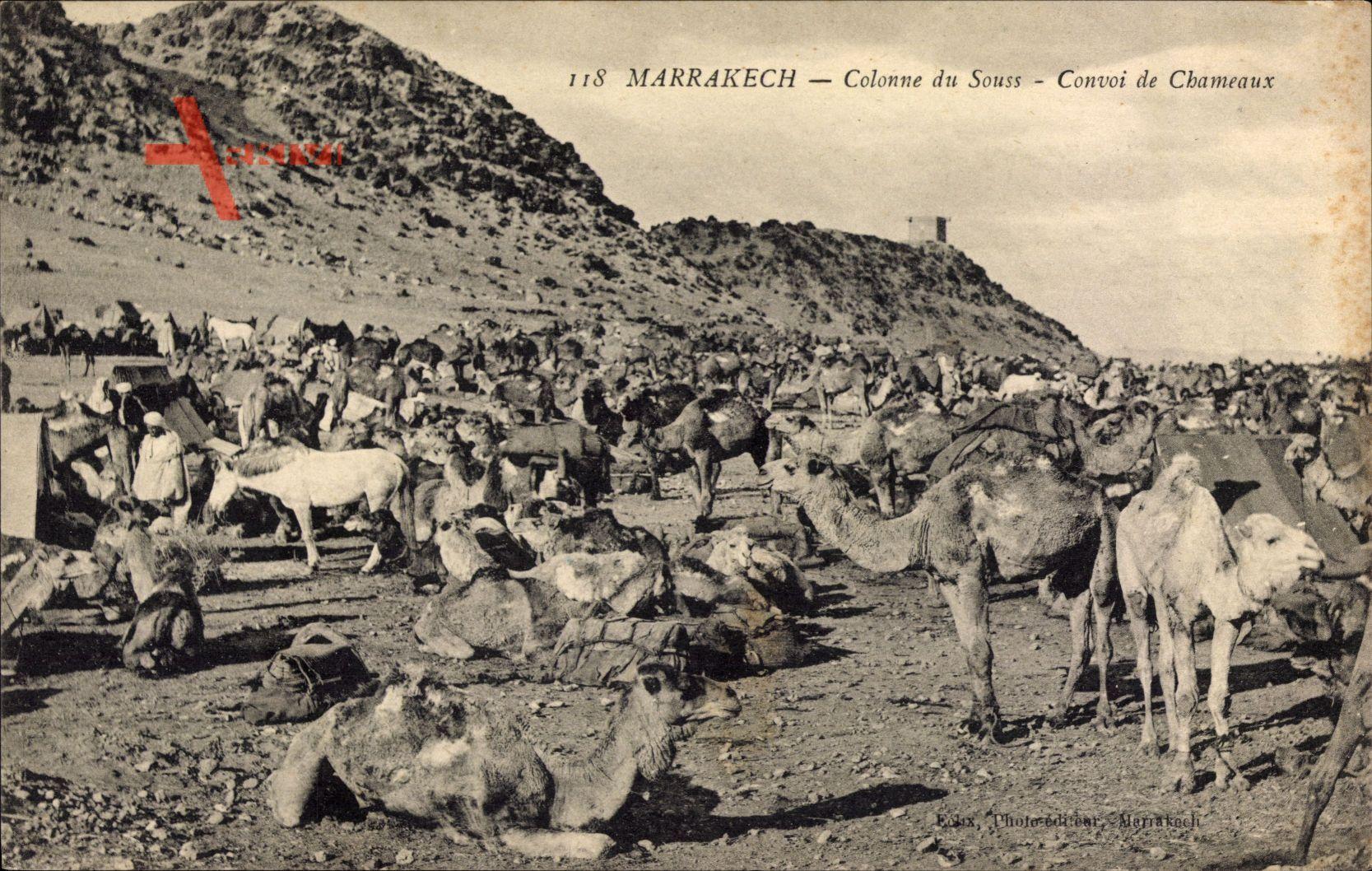 Marrakesch Marokko, Colonne du Souss, Convoi de Chameaux
