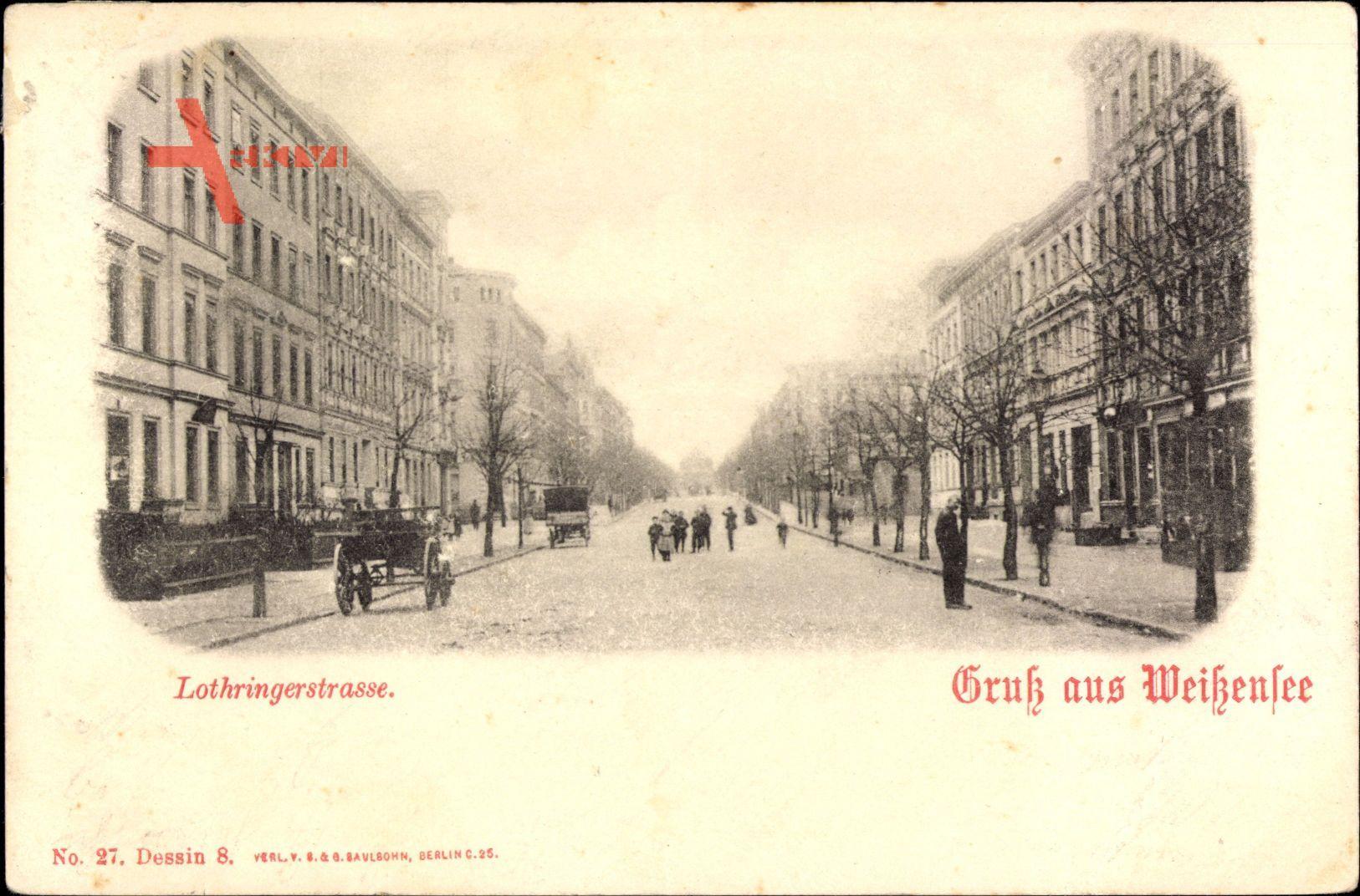 Berlin Weißensee, Blick in die Lothringer Straße, Passanten, Fassaden