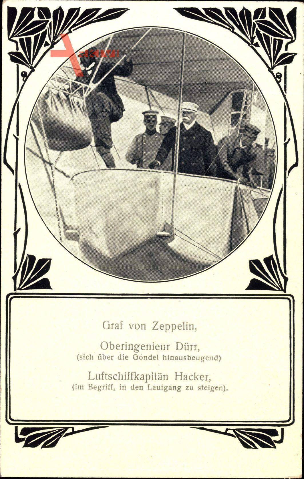 Jugendstil Luftfahrtpionier Ferdinand Graf von Zeppelin, Dürr, Hacker
