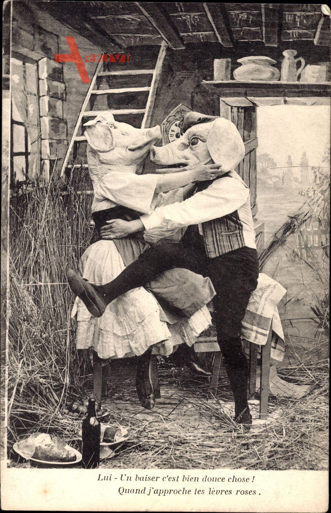 Lui un baiser cest bien douce chose, Schweine, Liebespaar, Cochons