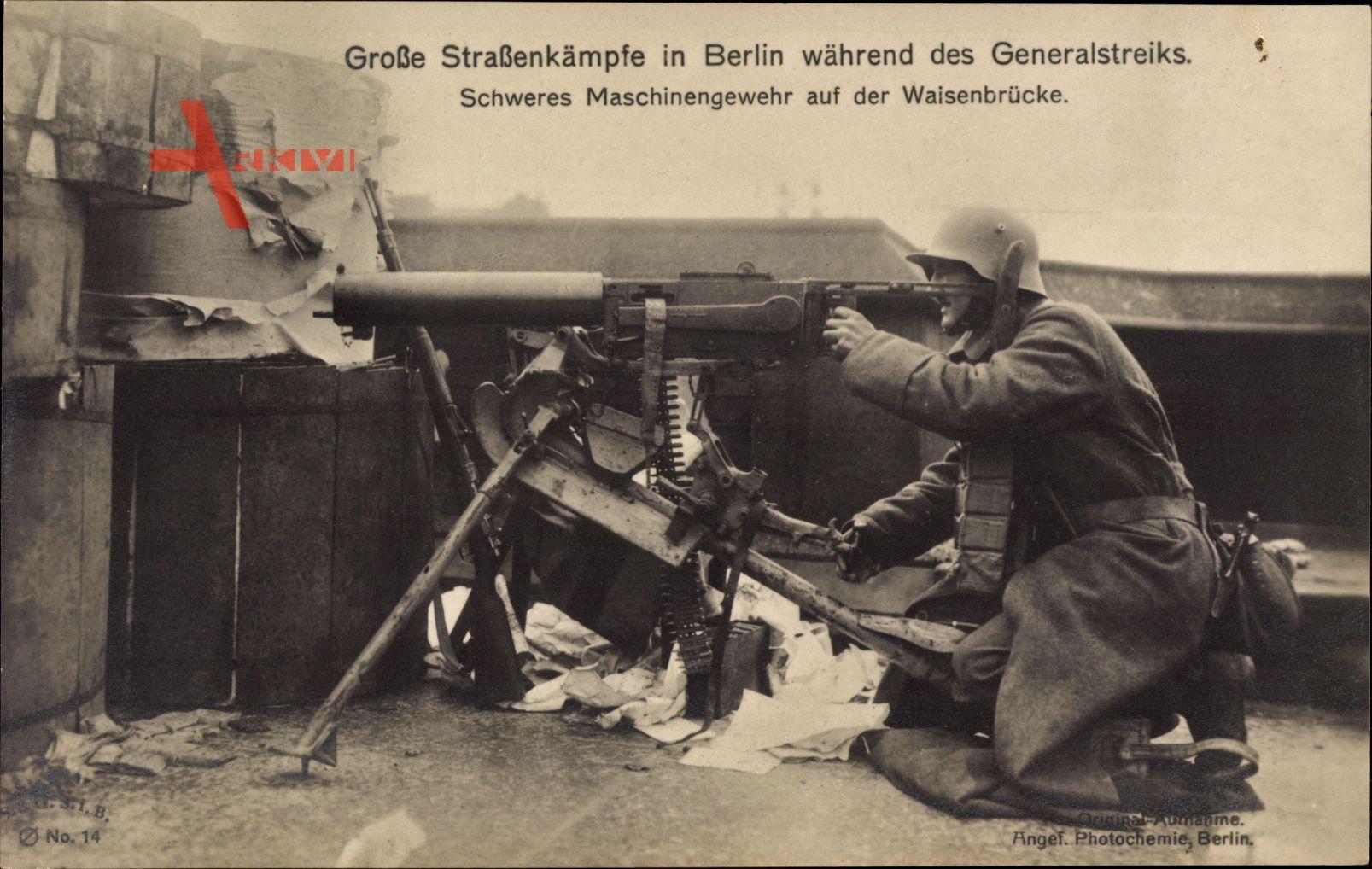 Berlin, Straßenkämpfe, Generalstreik 1919, Maschinengewehr, Waisenbrücke