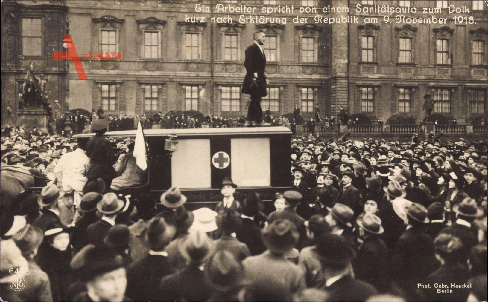 Berlin, Arbeiter spricht zum Volk, Sanitätsauto, 9 November 1918, NPG 6475