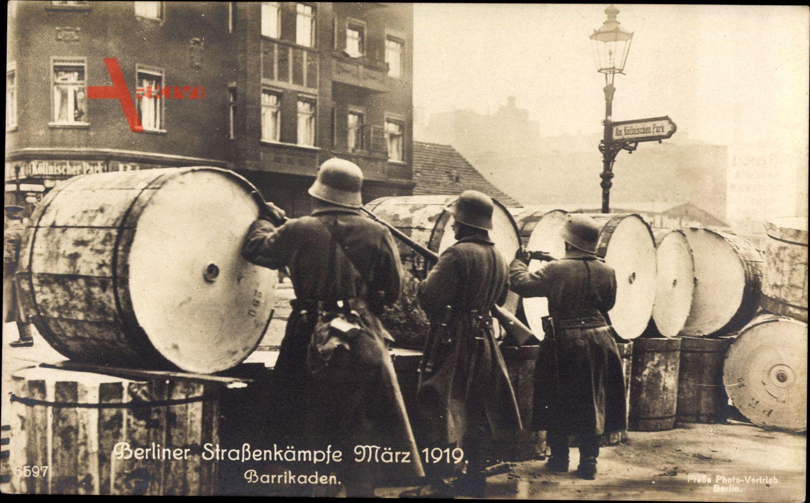 Berlin, Straßenkämpfe, März 1919, Barrikaden, Soldaten, Am Köllnischen Park