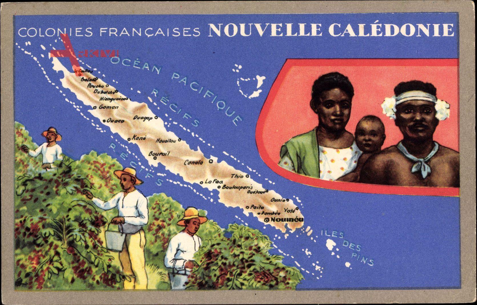 Landkarten Neukaledonien, Colonies Francaises, Récifs, Iles des Pins