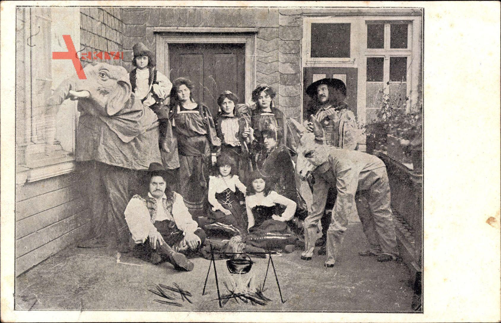 Karnevalskostüme, Esel, Elefant, Zigeunerlager