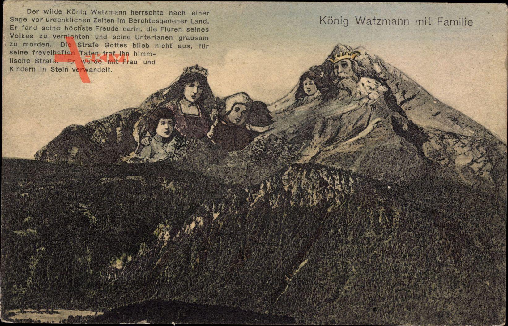 König Watzmann mit Familie, Berggesichter, Sagen