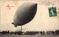 Le Ballon dirigéable Ville de Paris atterrit aux Moulineaux, Aéroplane Farman