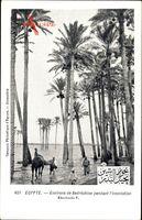 Ägypten, Environs de Bedréchine pendant lInondation, Hochwasser im Nil