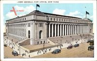New York City USA, view of the new General Post Office, facade, cars