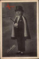 Odette, Portrait von einem Liliputaner in Anzug und Zylinder
