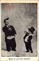 Many et son Fils Auguste, Liliputaner, Zylinder, Frack